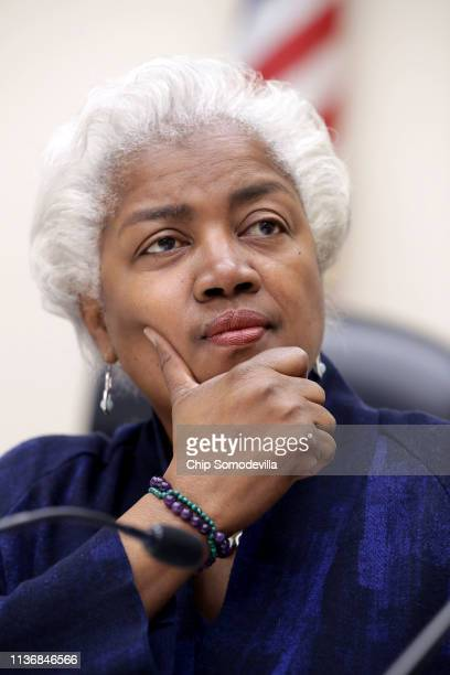 Former Democratic National Committee chairperson Donna Brazile participates in a panel discussion about Women's History Month in the Rayburn House...