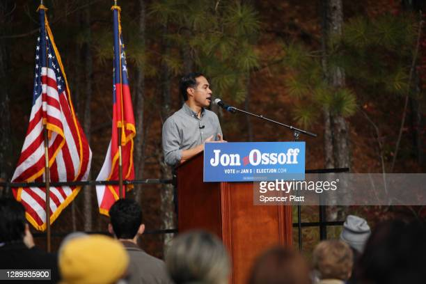 Former Democratic presidential candidate Julián Castro joins Democrat Jon Ossoff for a campaign event to register Democrats to vote in the January...
