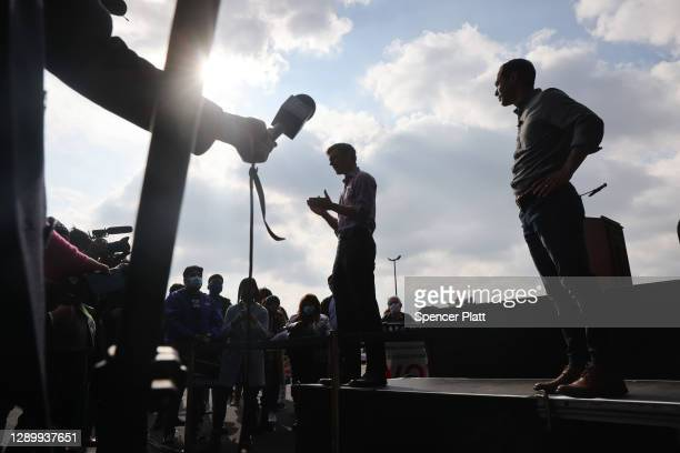Former Democratic presidential candidate Julián Castro joins Jon Ossoff, Democratic candidate for the U.S. Senate, at a campaign event to register...