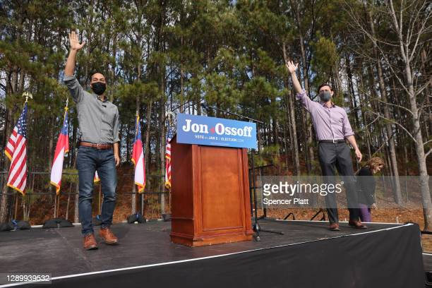 Former Democratic presidential candidate Julián Castro joins Jon Ossoff, Democratic candidate for the U.S. Senate at a campaign event to register...