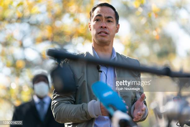 Former Democratic presidential candidate Julián Castro speaks at a campaign event with Democratic U.S. Senate candidate Raphael Warnock on December...