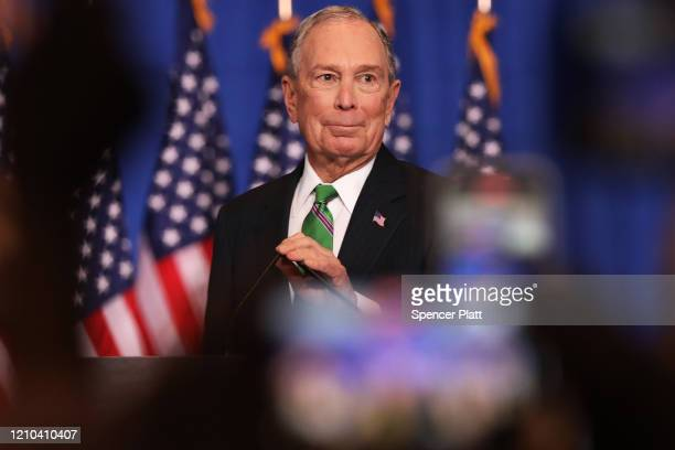 Former Democratic presidential candidate Mike Bloomberg addresses his staff and the media after announcing that he will be ending his campaign on...