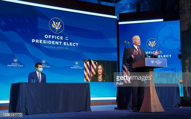 Former Democratic presidential candidate Pete Buttigieg and Vice President-elect Kamala Harris , appearing via video link, listen as U.S....