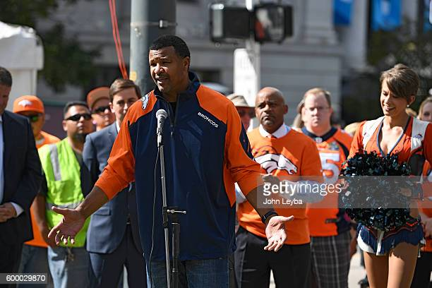 Former Denver Broncos great Steve Atwater on hand at the NFL Kickoff Village at Civic Center Park September 7 2016 to kick off with Mayor Hancock...