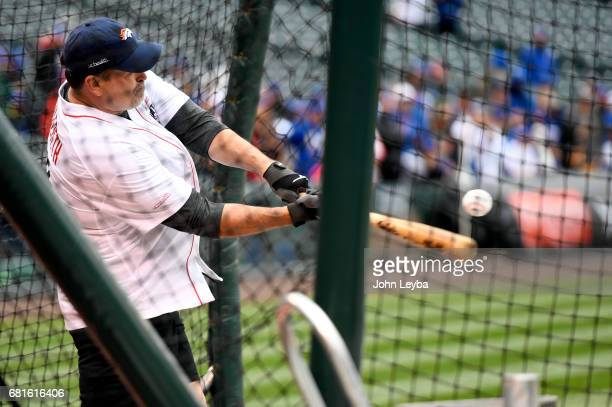Former Denver Broncos player Mark Schlereth steps in the cage for the home run derby UCHealth hosted its first Healthy Swings Home Run Derby event on...