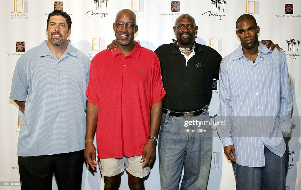 Former Denver Nuggets player Mark Randall, former Atlanta Hawks player Dan Roundfield, former Los Angeles Lakers player Spencer Haywood and Washington Wizards player Antawn Jamison arrive at the celebrity basketball 'New School vs. Old School' poker tournament at The Mirage July 9, 2005 in Las Vegas, Nevada. The event was held to benefit Operation Smile, the American Cancer Society and the Sports Dream Foundation.