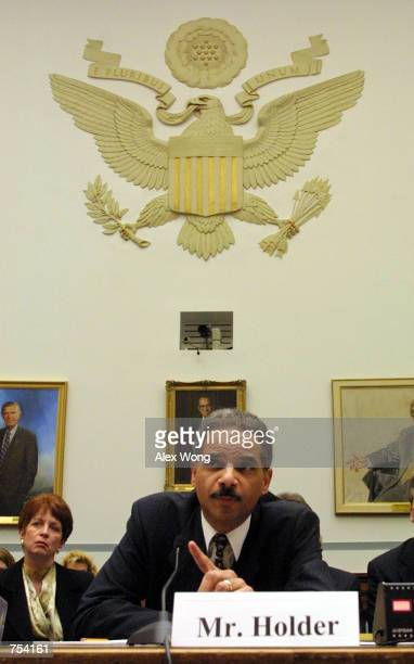 Former deputy attorney general Eric H Holder Jr testifies February 8 2001 before the House Government Reform Committee in Washington DC The hearing...