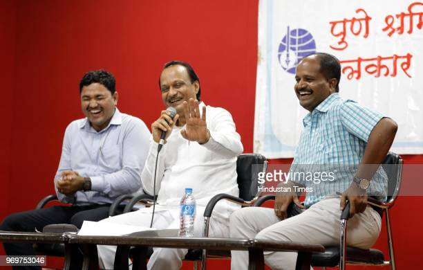 Former deputy chief minister of Maharashtra and senior Nationalist Congress Party leader Ajit Pawar during a press conference at Patrakar Sangh on...