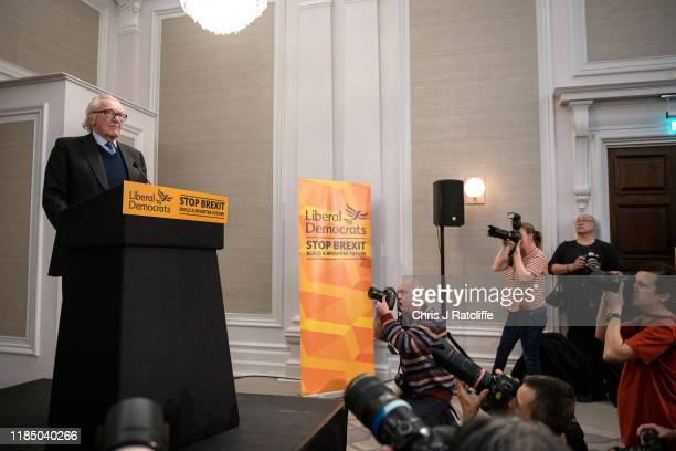 Former deputy Conservative Party Prime Minister Michael Heseltine speaks at a Liberal Democrat Party press conference on November 27 2019 in London...