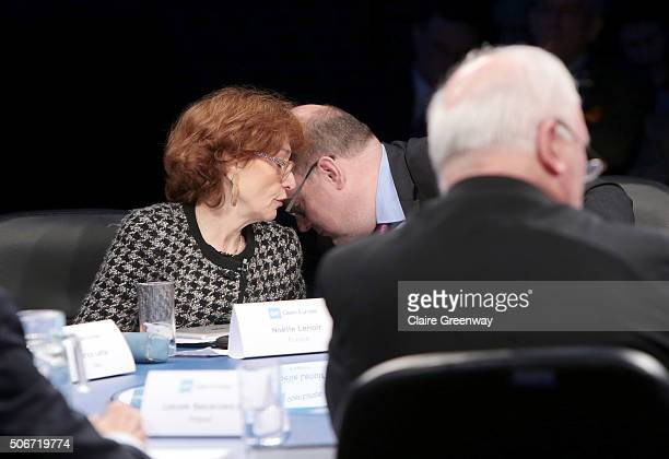 Former Deputy Finance Minister of Germany, Steffan Kampeter and former French Minister of European Affairs, Noelle Lenoir, share a private word at...