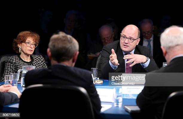 Former Deputy Finance Minister of Germany, Steffan Kampeter and former French Minister of European Affairs, Noelle Lenoir participate in the 'EU...