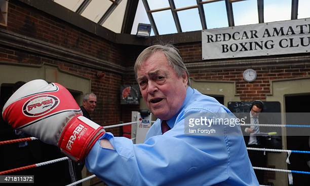 Former Deputy Leader of the Labour Party and Deputy Prime Minister Lord John Prescott poses with boxing gloves on as he joins Labour candidate Anna...