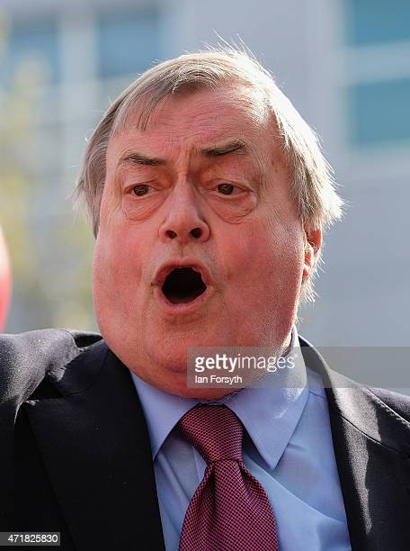 Former Deputy Leader of the Labour Party and Deputy Prime Minister Lord John Prescott joins Labour candidate Louise Baldock as he gives a speech to...