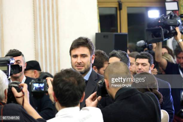 Former deputy of Five Stars Alessandro Di Battista arrives at the Five Stars electoral headquarter on March 5 2018 in Rome Italy The economy and...