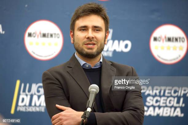Former deputy of Five Stars Alessandro Di Battista gives a statment after the Italian elections at the Five Stars electoral headquarter on March 5...