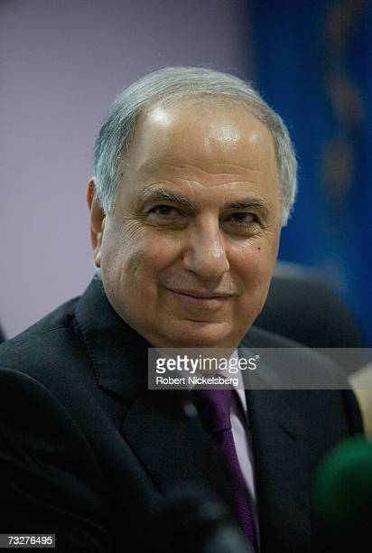 Former deputy prime minister Ahmad Chalabi sits in a meeting where he is chairman of the Committee of Public Forces to Support the Security Plan,...