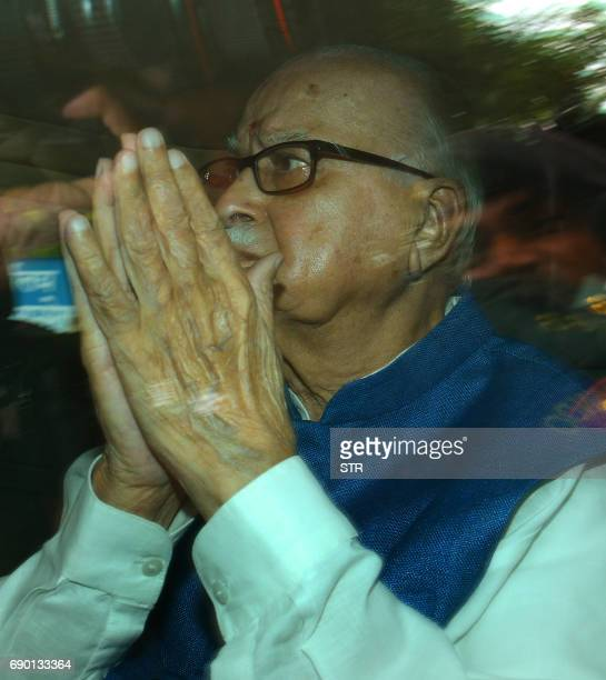 Former deputy prime minister and Bharatiya Janata Party leader LK Advani arrives for a court hearing in Lucknow on May 30 2017 A special court May 30...