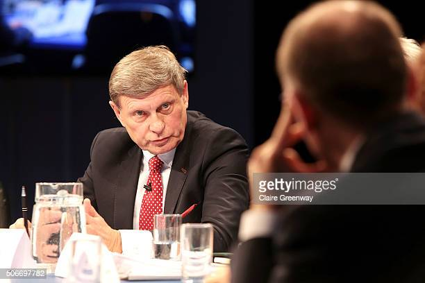 Former Deputy Prime Minister of Poland, Leszek Balcerowicz addresses former PM of Italy, Enrico Letta at the 'EU Wargames' event at The Porter Tun on...