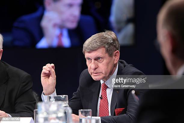 Former Deputy Prime Minister of Poland, Leszek Balcerowicz speaks at the 'EU Wargames' event at The Porter Tun on January 25, 2016 in London,...