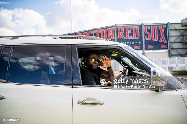 Former designated hitter David Ortiz of the Boston Red Sox waves as he rides in a car after a game against the Pittsburgh Pirates at JetBlue Park at...