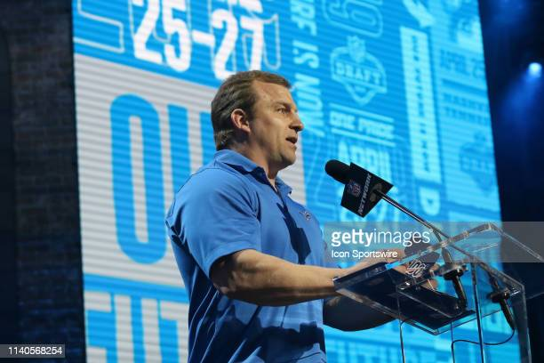 Former Detroin Lions fullback Cory Schlesinger announces a pick during the third round of the 2019 NFL Draft on April 26 at the Draft Main Stage on...