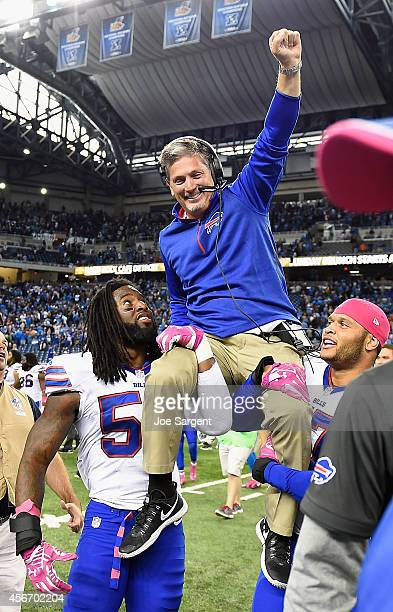 Former Detroit Lions head coach and current Buffalo Bills defensive coordinator Jim Schwartz is carried off field after the Bills defeated the Lions...