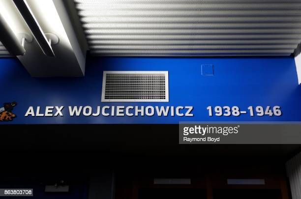 Former Detroit Lions player Alex Wojciechowicz is recognized in the team's locker room at Ford Field, home of the Detroit Lions football team in...