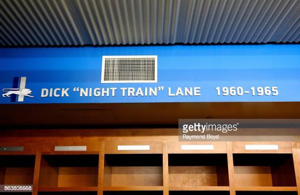 Former Detroit Lions player Dick 'Night Train' Lane is recognized in the team's locker room at Ford Field home of the Detroit Lions football team in...