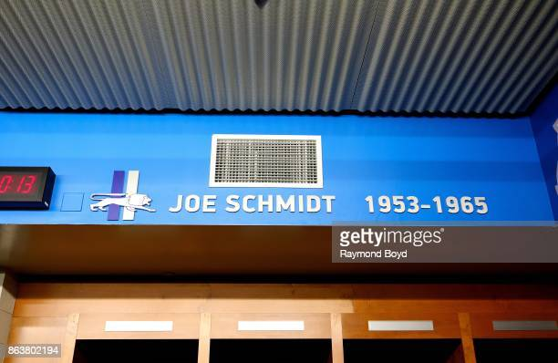Former Detroit Lions player Joe Schmidt is recognized in the team's locker room at Ford Field, home of the Detroit Lions football team in Detroit,...