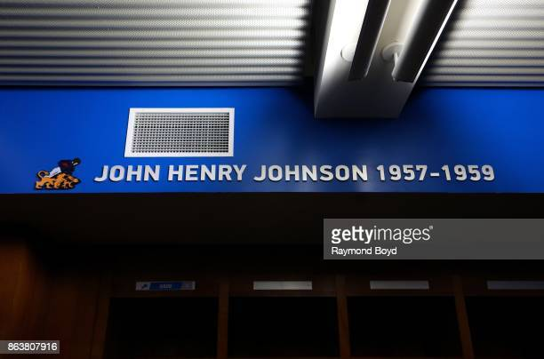 Former Detroit Lions player John Henry Johnson is recognized in the team's locker room at Ford Field home of the Detroit Lions football team in...