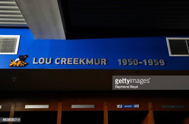 Former Detroit Lions player Lou Creekmur is recognized in the team's locker room at Ford Field, home of the Detroit Lions football team in Detroit,...