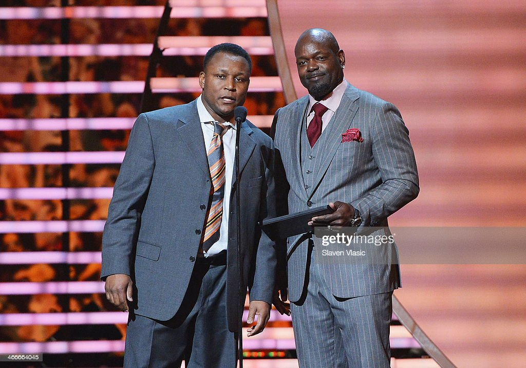 Former Detroit Lions running back Barry Sanders and former Dallas Cowboys running back Emmitt Smith attend the 3rd Annual NFL Honor at Radio City Music Hall on February 1, 2014 in New York City.