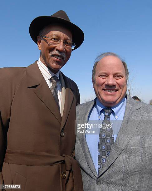 Former Detroit mayor Dave Bing and current Detroit mayor Mike Duggan attend the Final Demolition Of The Brewster Projects on March 10 2014 in Detroit...