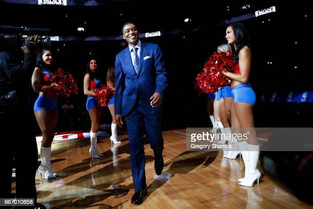 Former Detroit Piston Isiah Thomas take the floor for a halftime ceremony at the final NBA game at the Palace of Auburn Hills between the Detroit...