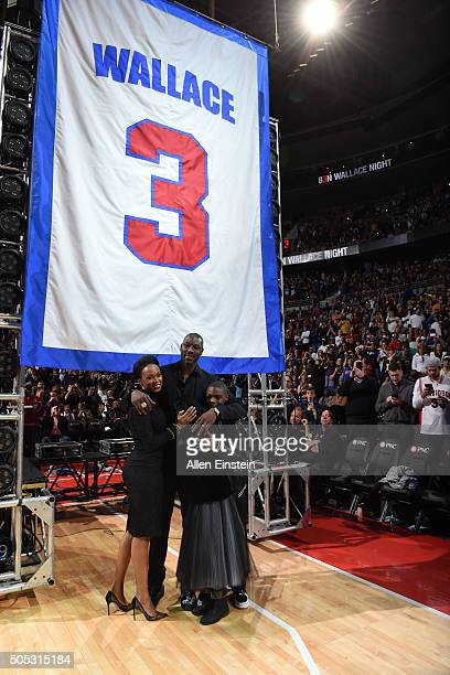 Former Detroit Pistons player Ben Wallace is honored during halftime of the game between the Detroit Pistons and the Golden State Warriors on January...
