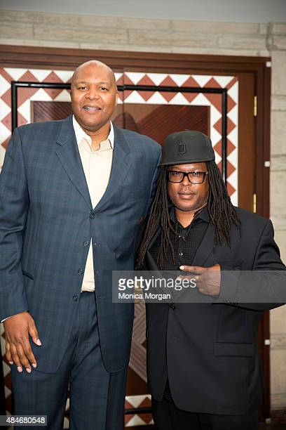 Former Detroit Pistons player Derrick Coleman and Shaka Senghor attend Men Of Courage The Storytelling Project at Charles H Wright Museum of African...