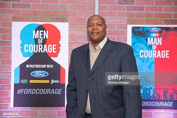 Former Detroit Pistons player Derrick Coleman attends Men Of Courage The Storytelling Project at Charles H Wright Museum of African American History...