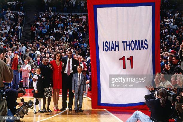 Former Detroit Pistons player Isiah Thomas poses for a portrait during his jersey retirement ceremony on March 18 1996 at the Palace of Auburn Hills...