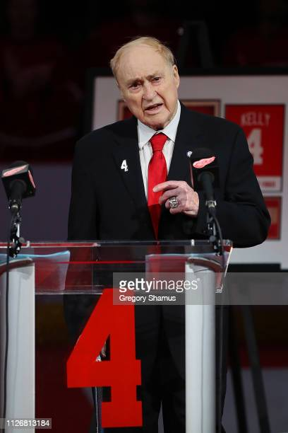 Former Detroit Red Wing Red Kelly talks during a ceremony to retire his Kelly's prior to a game against the Toronto Maple Leafs at Little Caesars...