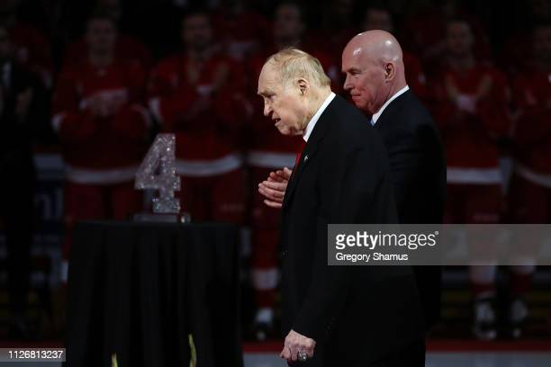 Former Detroit Red Wing Red Kelly walks to the podium to speak during a ceremony to retire his Kelly's prior to a game against the Toronto Maple...