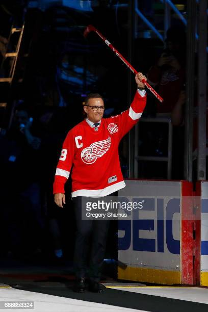 Former Detroit Red Wing Steve Yzerman enters a ceremony honoring Joe Louis Arena on April 9 2017 in Detroit Michigan The Detroit Red Wings beat the...