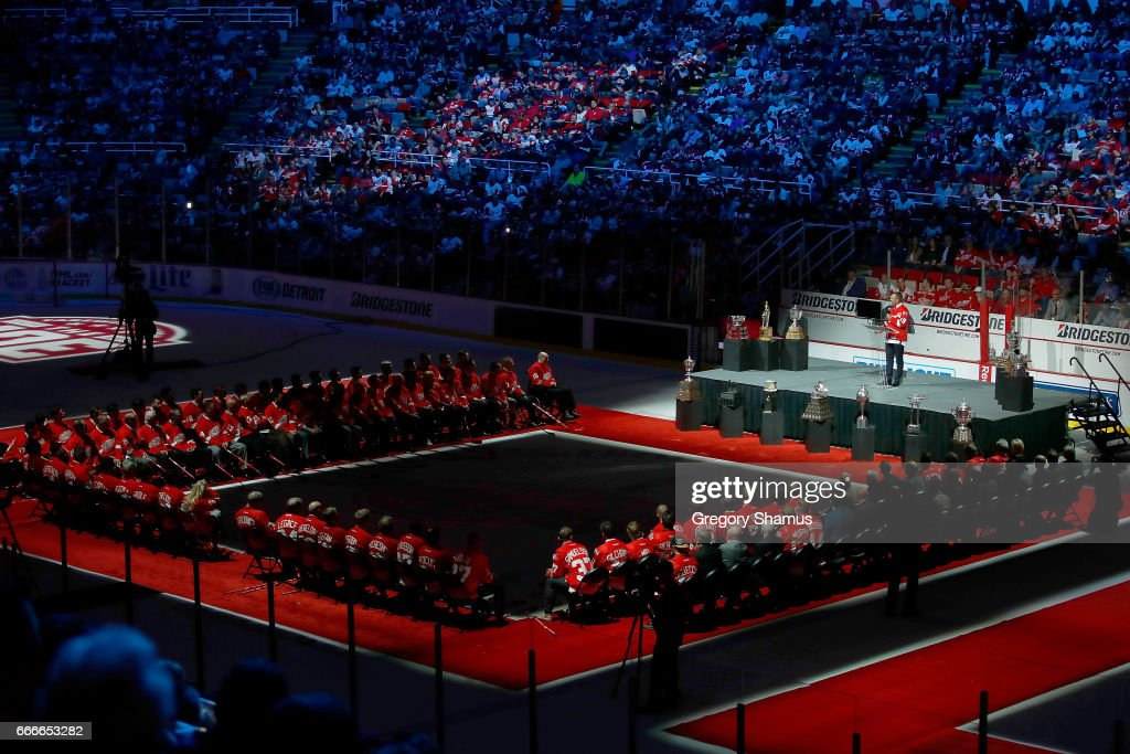 Former Detroit Red Wing Steve Yzerman #19 talks at a ceremony honoring Joe Louis Arena on April 9, 2017 in Detroit, Michigan. The Detroit Red Wings beat the New Jersey Devils 4-1 in the last NHL game at the arena.