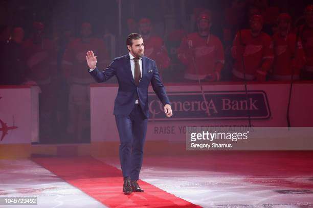Former Detroit Red Wings captain Henrik Zetterberg is introduced prior to a game between the Detroit Red Wings and Columbus Blue Jackets at Little...