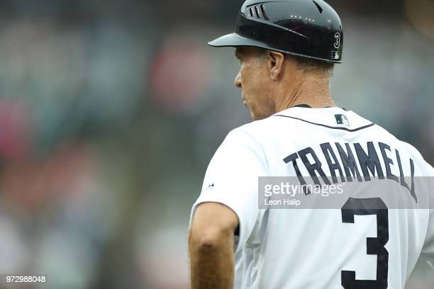 Former Detroit Tigers Alan Trammell coaches first base during the game against the Cleveland Indians at Comerica Park on June 10 2018 in Detroit...