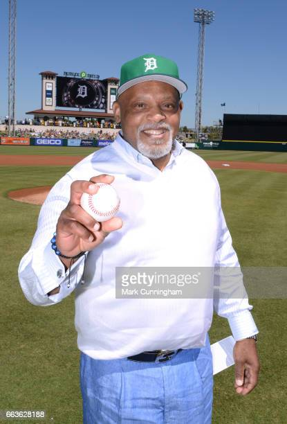 Former Detroit Tigers first baseman Cecil Fielder poses for a photo prior to the Spring Training game between the New York Yankees and the Detroit...