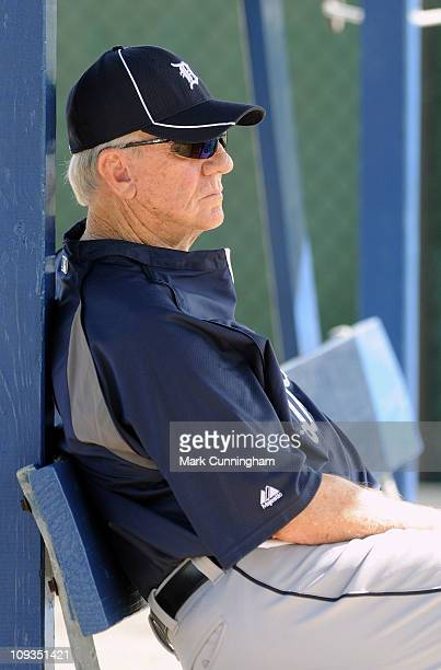 Former Detroit Tigers outfielder and Baseball Hall Of Famer Al Kaline looks on during spring training workouts on February 22 2011 at the TigerTown...
