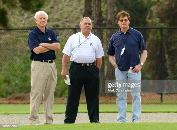 Former Detroit Tigers outfielder and Baseball Hall-of-Famer Al Kaline watches the action on the field with Tigers Vice President/Assistant General...