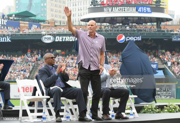 Former Detroit Tigers outfielder Kirk Gibson waves to the crowd prior to the game between the Detroit Tigers and the Chicago White Sox at Comerica...
