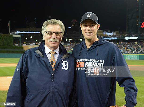 Former Detroit Tigers pitcher Jack Morris and current Tigers pitcher Doug Fister pose for a photo prior to Game Five of the American League...