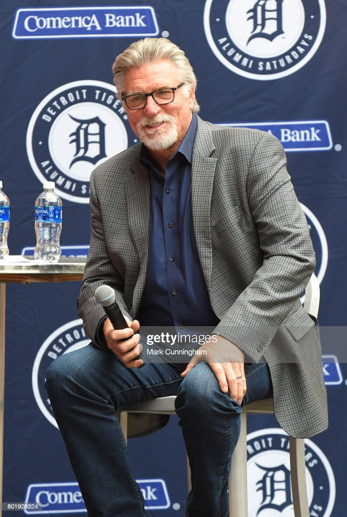 Former Detroit Tigers pitcher Jack Morris talks to fans during a Q & A session prior to the game between the Detroit Tigers and the Chicago White Sox at Comerica Park on June 3, 2017 in Detroit, Michigan. The Tigers defeated the White Sox 10-1.